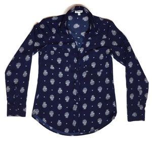 Express Button Down Portofino Shirt Navy Blue